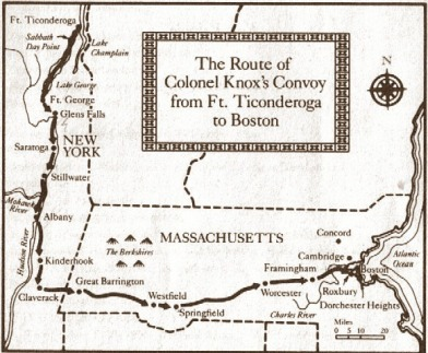 Knox Route from Ft Ticonderago to Boston-8x6