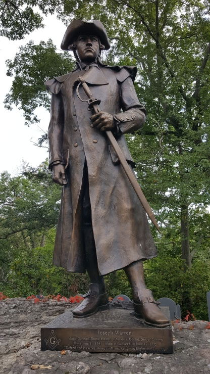 Statue of Joseph Warren erected on his family grave site by the 6th Masonic District October 2016